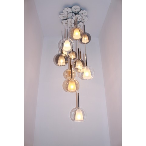 Szklana lampa wisząca- plafon ozcan salon, jadalnia, kuchnia 4023-3 3x40w lampa