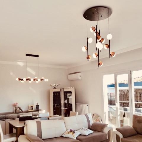 Szklana lampa wisząca- plafon ozcan salon, jadalnia, kuchnia 4023-5y 5x 40w lampa