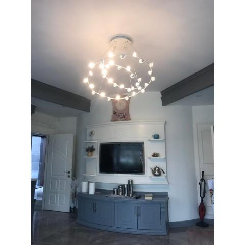 Szklana lampa wisząca- plafon ozcan salon, jadalnia, kuchnia 4023-8y 8x 40w lampa