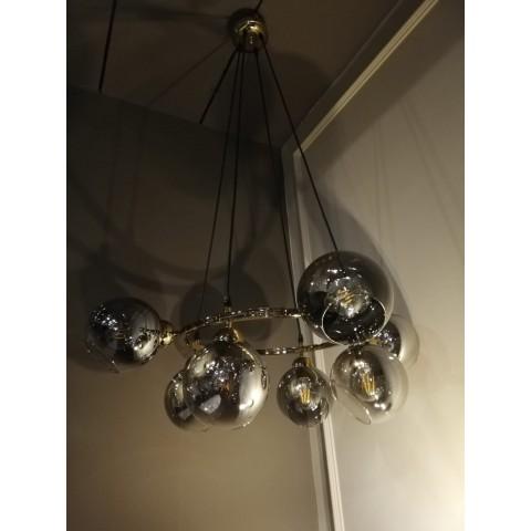 Złota lampa sufitowa 1495or kryształowe oczko gumarcris oprawa natynkowa salon hol łazienka